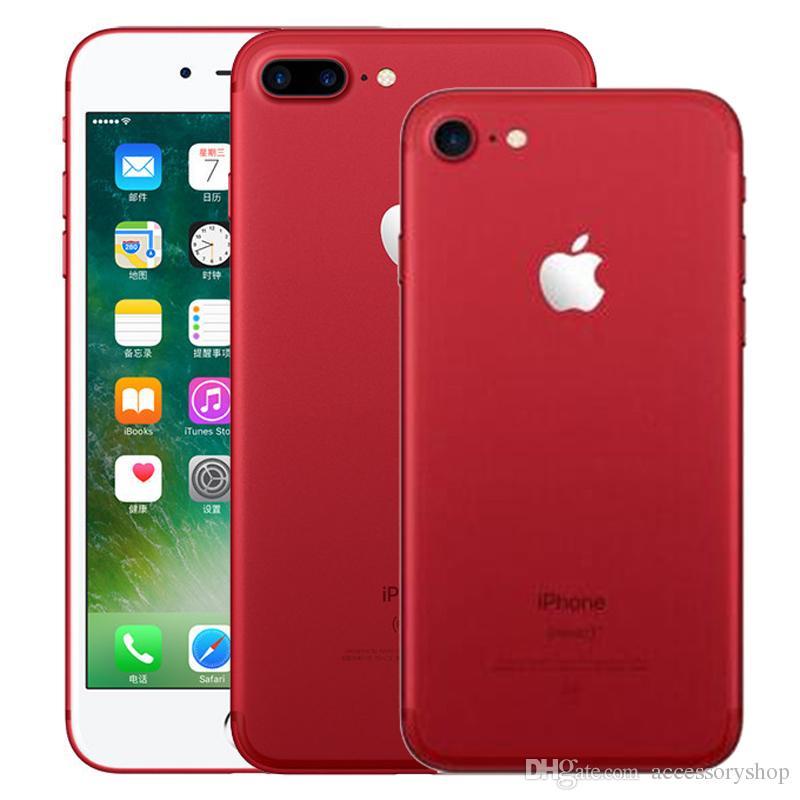 Red Color Refurbished Original Apple iPhone 7 / 7 Plus Fingerprint iOS 32/128/256GB ROM Quad Core 12MP Unlocked 4G LTE Smart Phone DHL 1pcs