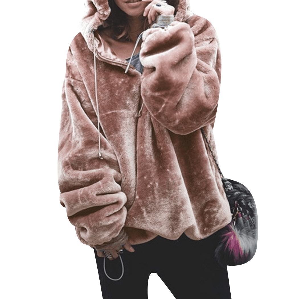Women Fashion Chic Style Hooded Sweatshirt Oversized Hoodies Big Pocket Plush Warm Autumn Winter Outwear Female Tops Streetwear