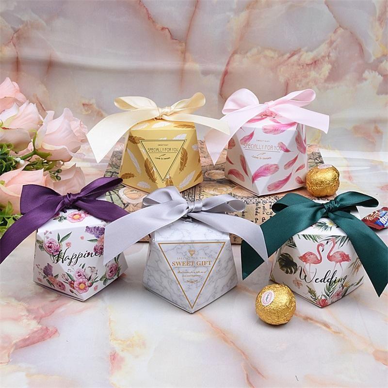 Diamante en forma de caja de caramelo plegable con cinta Cajas de regalo Flor de pluma Flamingo patrón organizador Venta caliente 0 49hh2 BB