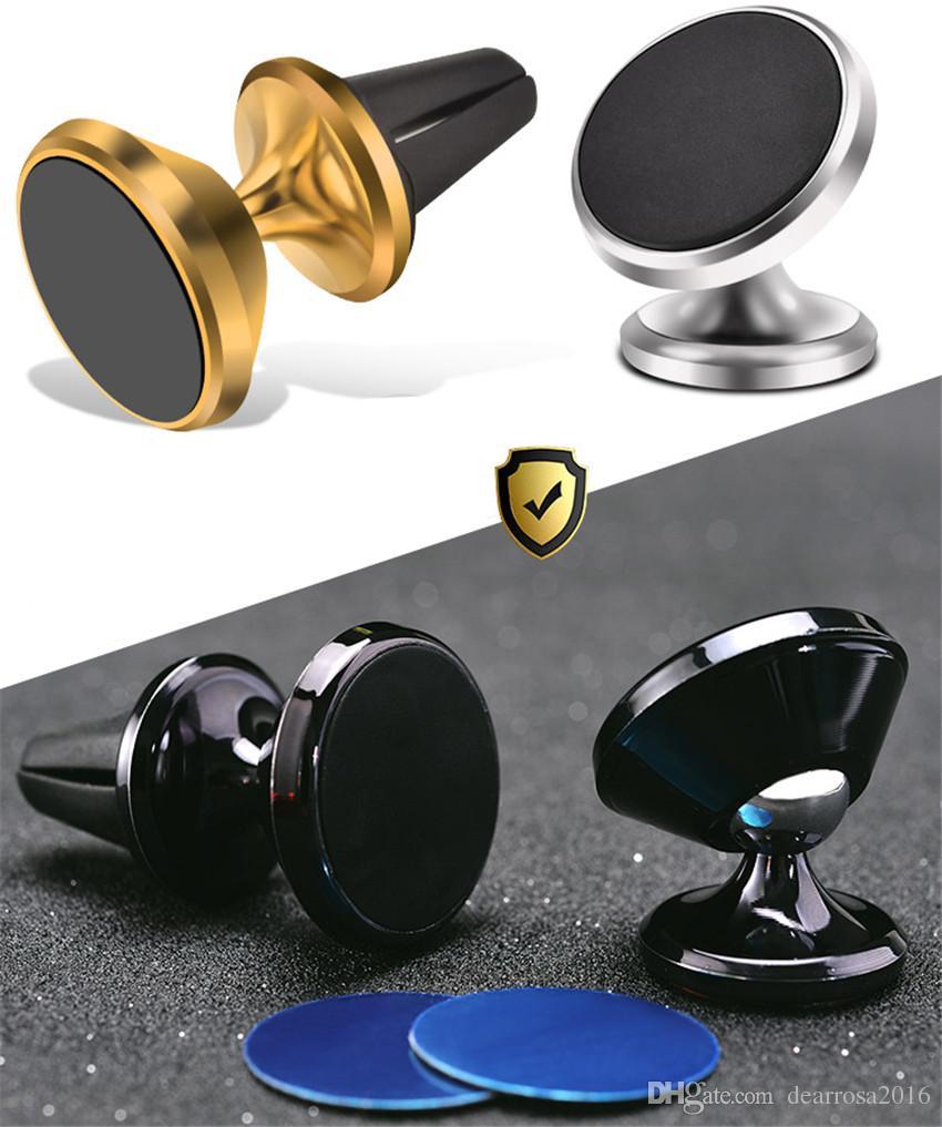 1 Pc liga de alumínio placa de traço magnética 360 graus girar suporte de anel de telefone celular de montagem de carro para tablets telefone celular promoção presente criativo
