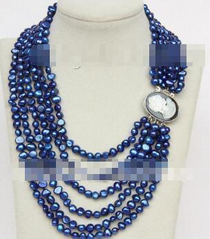 """Véritable perles de perles de perles baroques libres livraison 7mm collier 6row 16 """"-21"""" coquillage bleu VTMEO"""