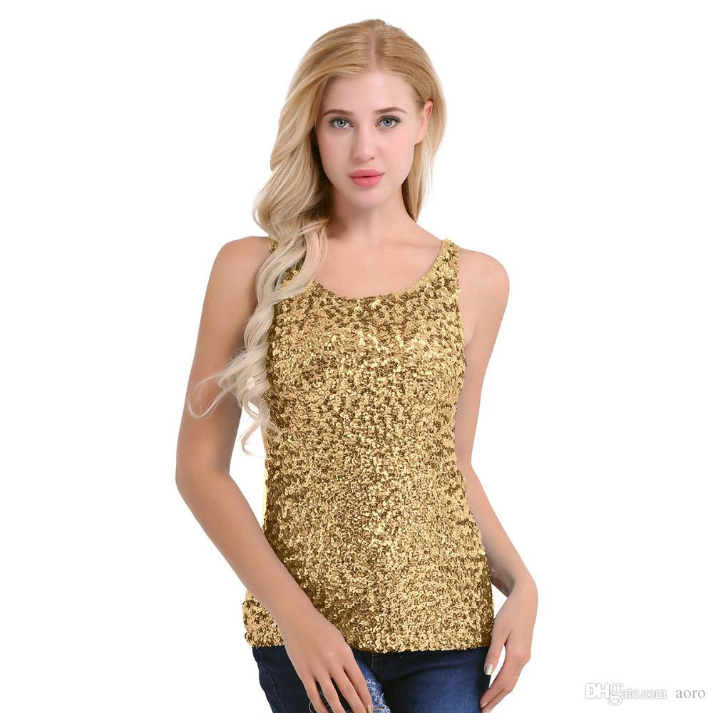 (Buy One Get One Free ) Women Shiny Sequin Vest Top Mesh Tank Sleeveless Blouse Lady T-Shirt Sexy Tee Casual colour with golden