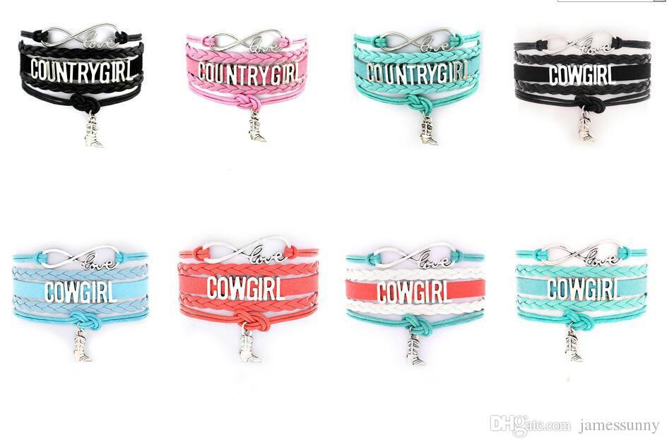 gros rabais Infinity Bracelets Country Girl Cow Girl Bracelets avec une bonne qualité