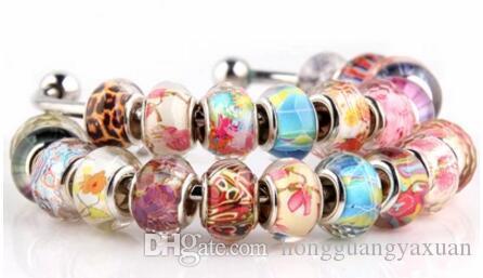 Gran apertura abalorios de cristal perlas de vidrio pulsera abalorios 24 diseños opcionales nuevos productos