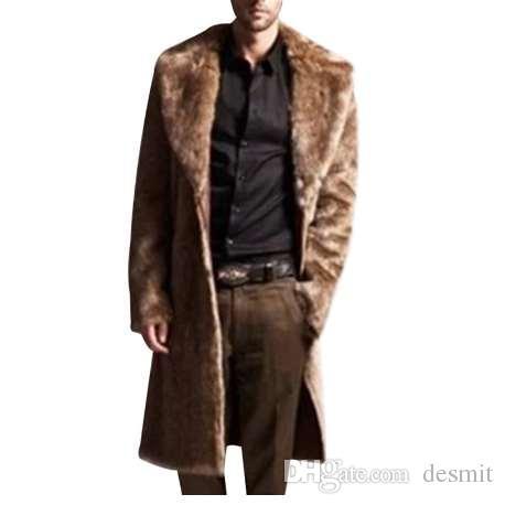 남성 럭셔리 긴 오버 사이즈 트렌치 코트 겨울철 캐시미어 Faux Fox Fur 두꺼운 웜 자켓 플러스 사이즈 오버 코트 Manteau Homme