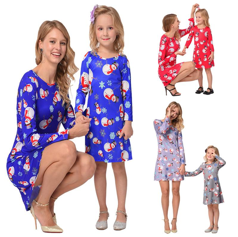 Family Matching Dress Outfits Mother And Daughter Matching Clothes Long Sleeve Christmas Snowmen Printed Mom And Me Christmas Dresses 4Color