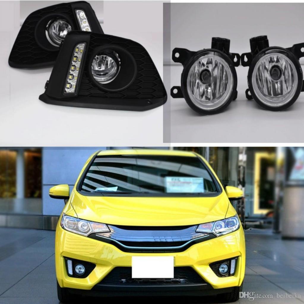 Автомобиль светодиодные дневные Runnin противотуманные фары DRL для Honda jazz fit 2014-2017 ясно галогенные лампы H8 светодиодные передние противотуманные фары бампер лампы комплект