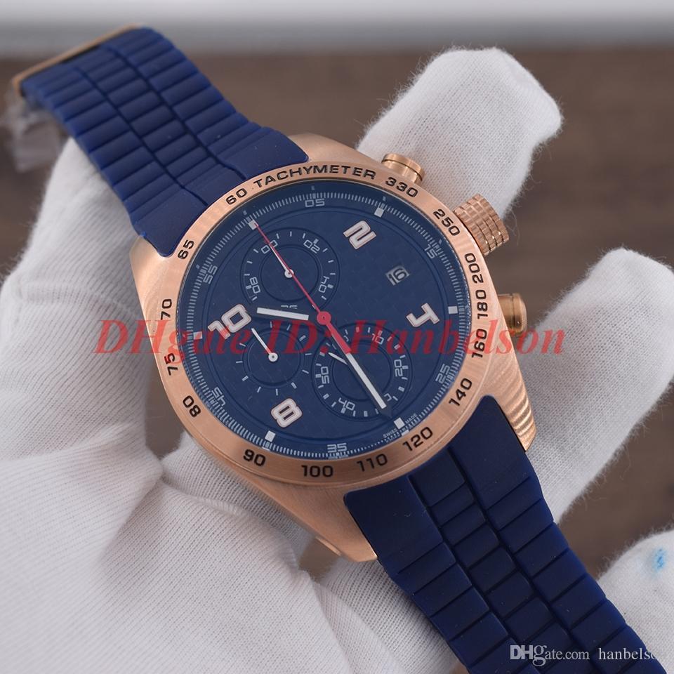 NUEVO Racing PD Reloj para hombre P6620 Movimiento de cuarzo Cronógrafo deportivo Estilo Oro rosa Caja de acero Dial de fibra Funcionará Correa de caucho Hombre