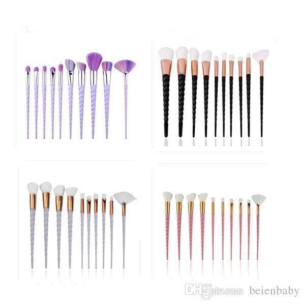 10Pcs Set Oval Makeup Brush Eyeliner Eyebrow Make Up Brushes Maquillaje Shaving Fast Ship