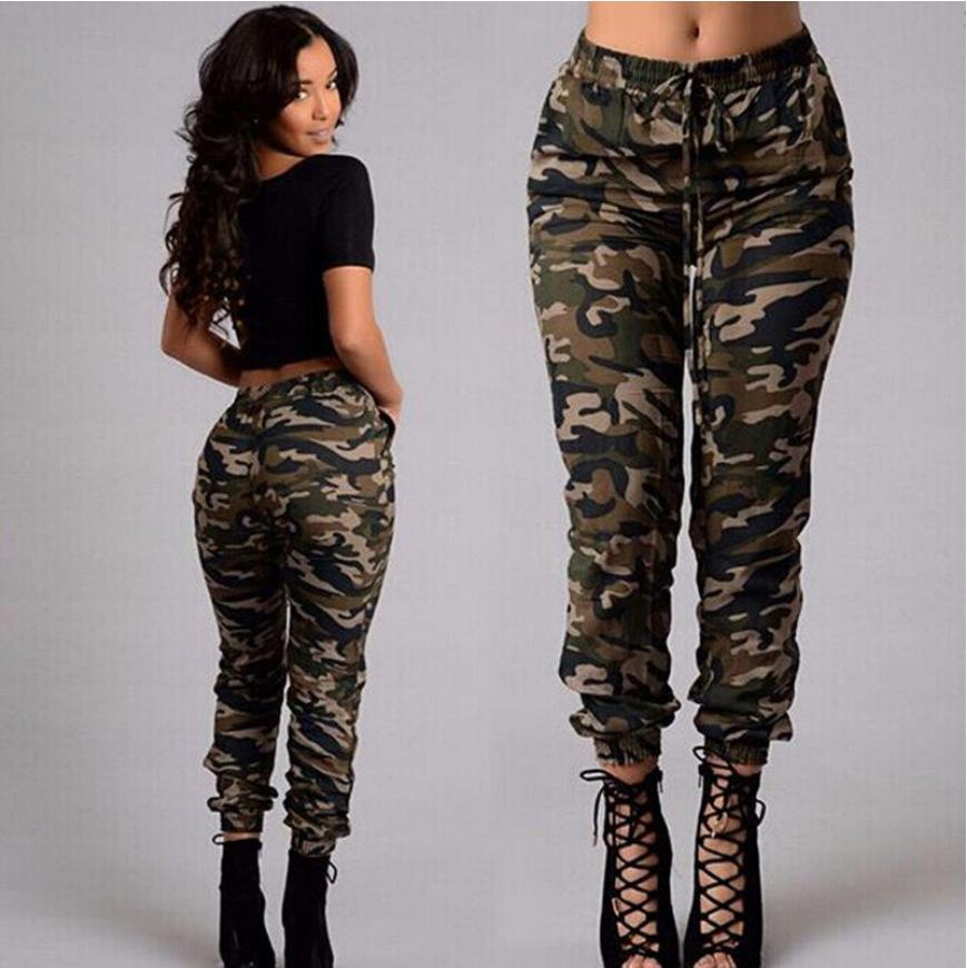 2018 Femmes Mode Pantalons camouflage Jogger femmes Sarouel militaire Pantalon Femme pantalon cheville longueur Pantalon en coton Camo
