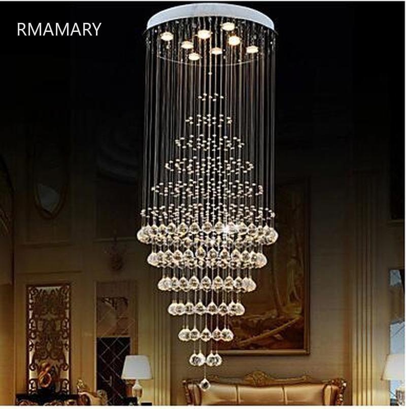 RMAMARY Lüks K9 Kristal kolye Aydınlatma 8 Ampuller ile K9 Lamba Armatürleri D60CM H180CM 110-220 V Merdiven hall kolye Kristal Lamba