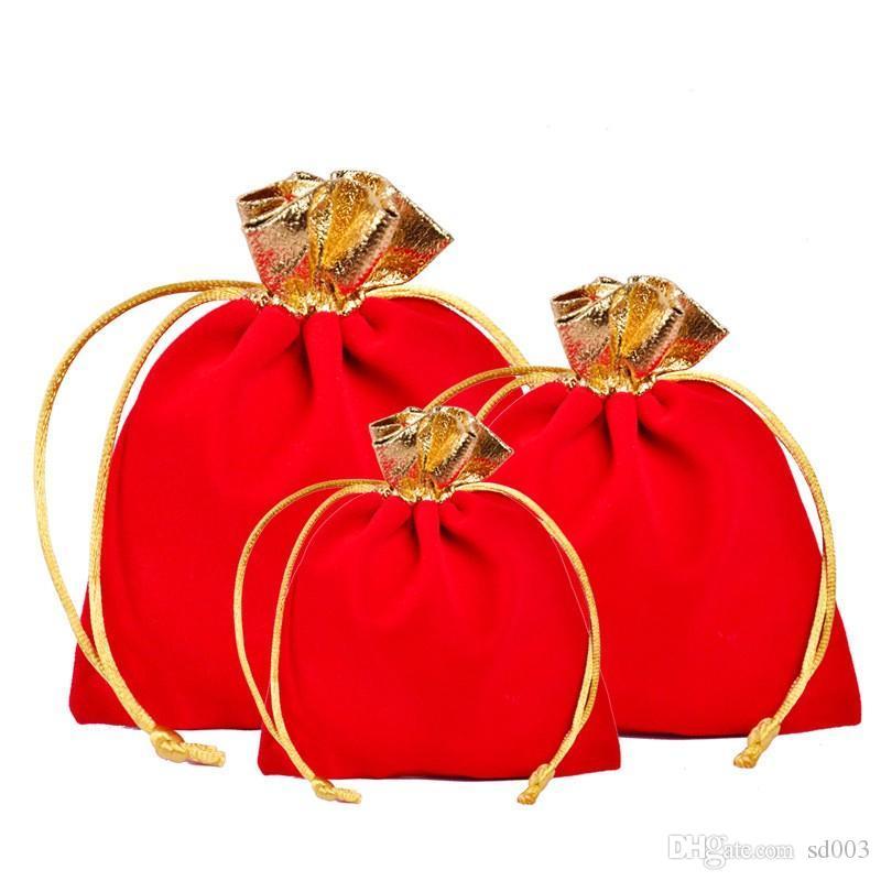 Borsa gioielli Gules Fashion Velvet Gold Edge Corda Pulling Bundle Pocket Ornamenti regalo Borse da imballaggio per Natale Migliori regali 0 6cy ZZ