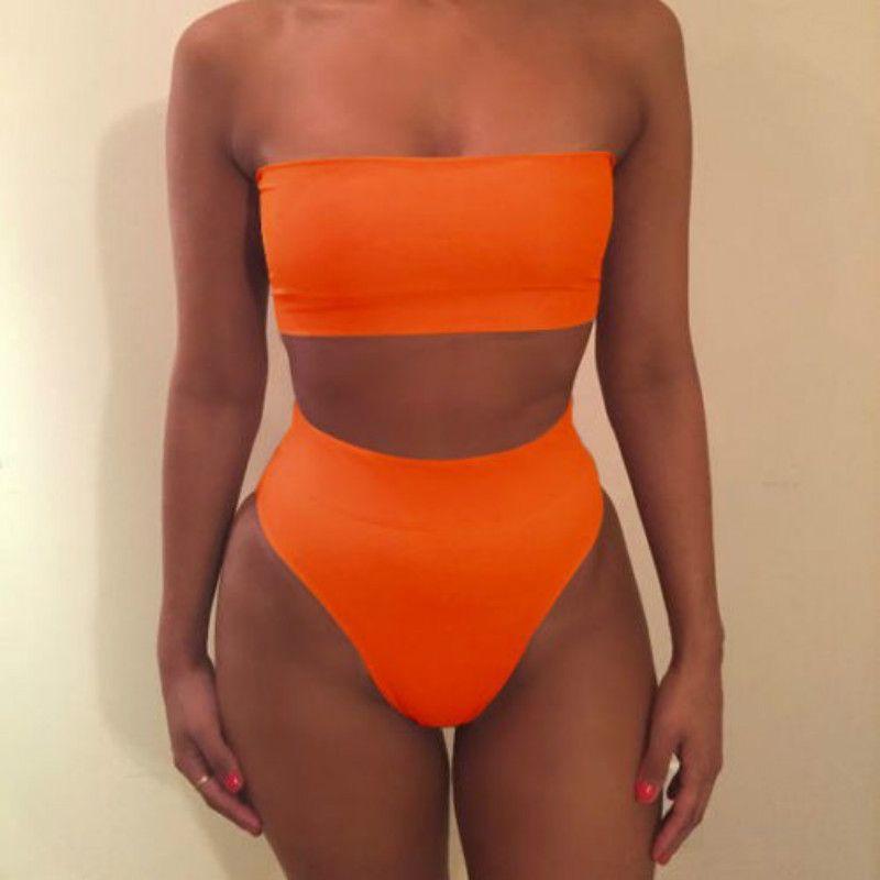 2018 Solid Sexy High Waist Bikini Bandeau Women Plus Size Swimwear Swim Suit Bathing Beach Wear
