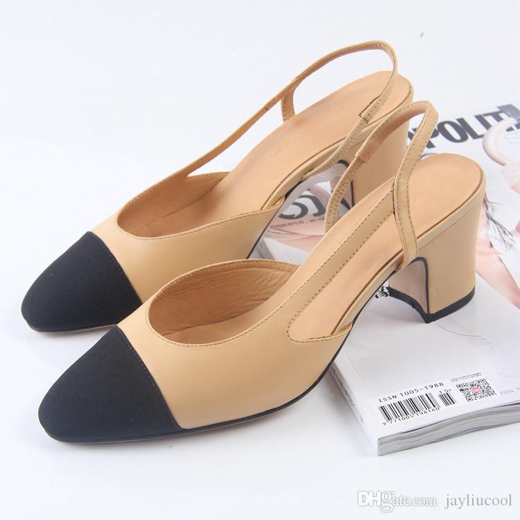 Sıcak satış Kadın terlik Ofis Lady Pompaları Moda yüksek topuk kadın sandalet yaz Hakiki deri Geri Askı sandalet Elbise Ayakkabı Boyutu 34-41