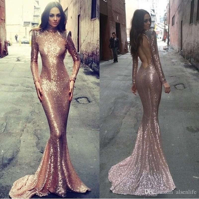 2017 rose gold pailletten meerjungfrau brautkleider sexy backless high neck langarm muslim abendkleider vestidos