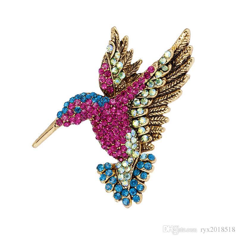 New Men Women's Vintage Bronze Colorful Rhinestone Alloy Bird Brooch Fashion Woodpecker Pin Suit Coat Scarf Ornament Popular Jewelry