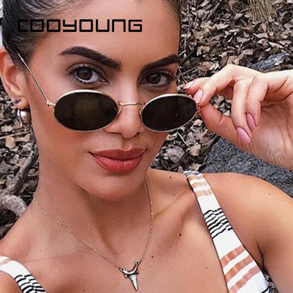COOYOUNG Küçük Oval Güneş Kadın Erkek Vintage Güneş Gözlükleri Metal Çerçeve UV400 gafas de sol
