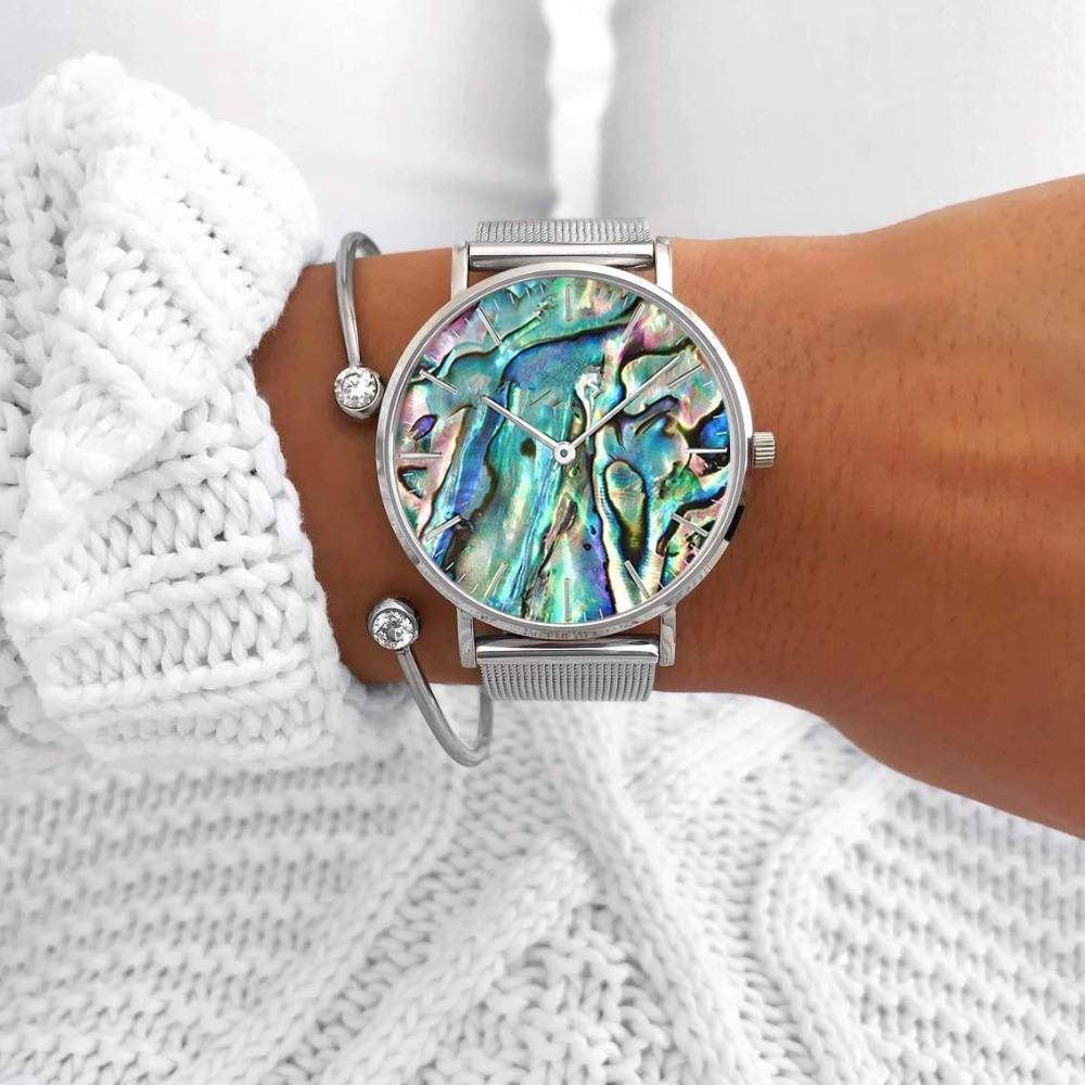 Mavis Hare Ocean Series Abalone Silver Mesh Watches Nature Seashell Women Wrist Watches with Crystal Cuff Heart Bracelet Bangle