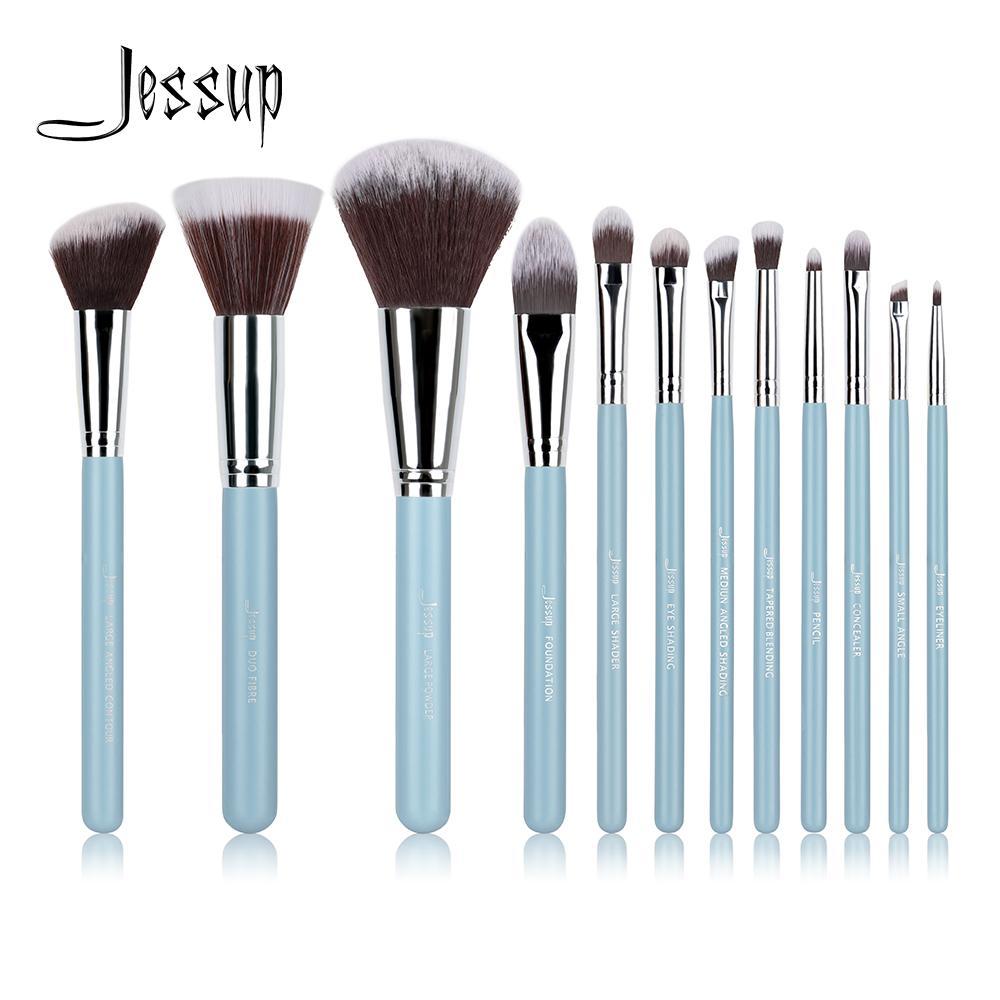 Jessup Brand 12шт. Синий / Серебристый Профессиональный набор кистей для макияжа. Набор косметики для макияжа. Косметический набор.