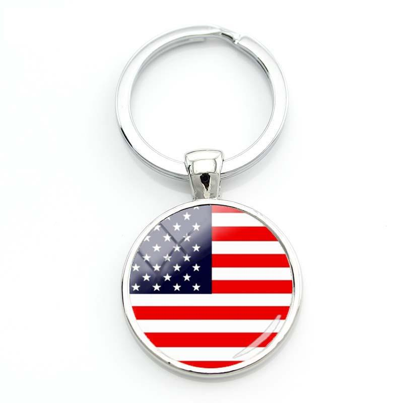 Fashion Usa American Flag Keyrings For A Woman Bag Surinam Flag Key Chain Women Turkish Flag Glass Cabochon Keychain