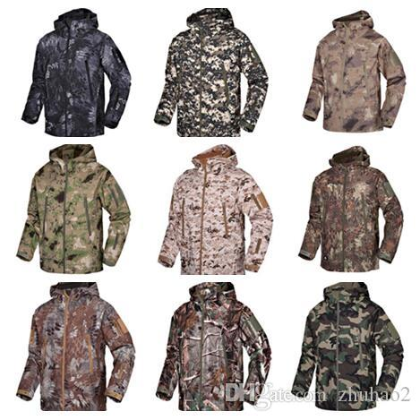 Men Waterproof Breathable Softshell Jacket Outdoor Camouflage Suit Coats Shark Skin Hiking Windproof Winter Soft Shell Jacket Hoodies A02