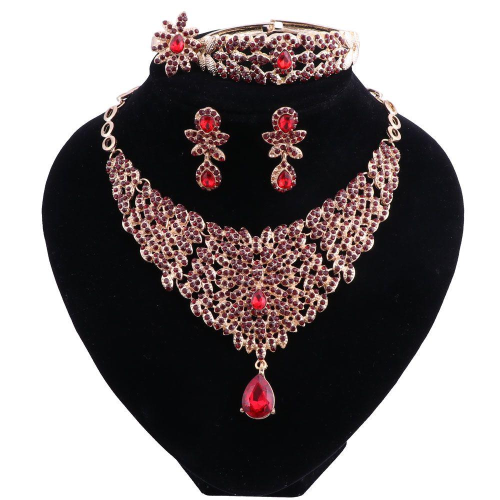 결혼식 보석 빨간색 크리스탈 골드 컬러로 목걸이 귀걸이 팔찌 반지 세트를 위한 여성의 결혼식은 신부 보석 세트