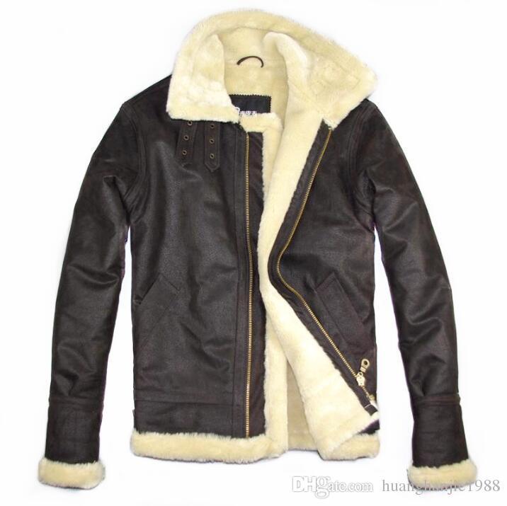Envío gratis Chaqueta de marca para hombre Air force flight chaqueta de cuero engrosamiento de piel cordero flocado abrigo de cuero Hombres warmOuterwear M-4XL
