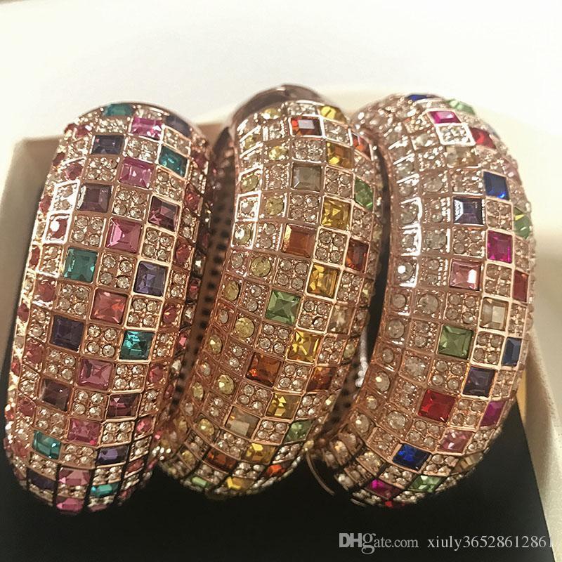 Розовое золото цвет широкий цирконий большой манжеты браслеты оптом / браслет femme / корейский роскошные ювелирные изделия браслеты mujer / pulseiras / brazalete