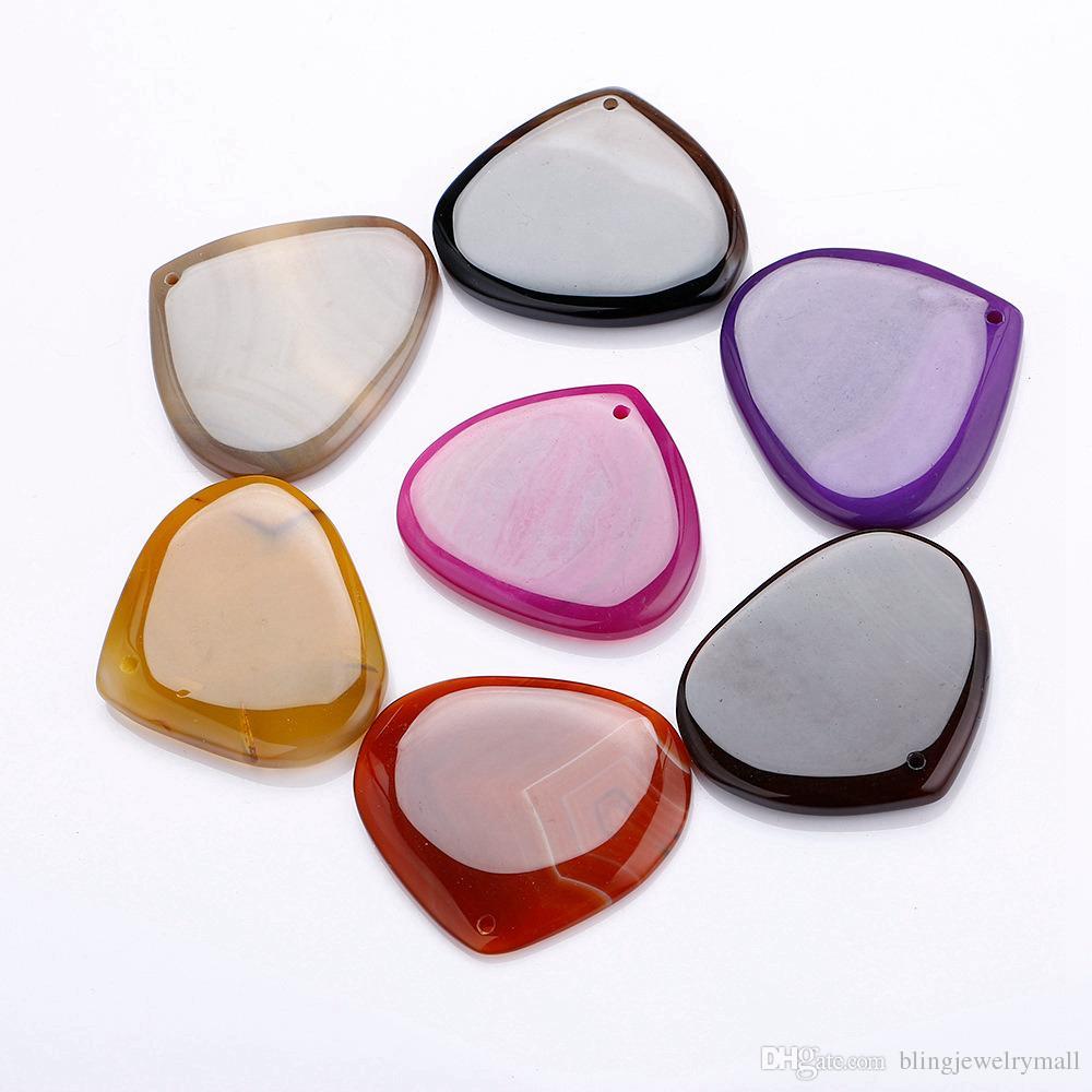 Agate Pendant Multicolor Peach Shape Charm Crystal Slice Quartz High-Grade Beads Men Necklace Jewelry Women Reiki Stone
