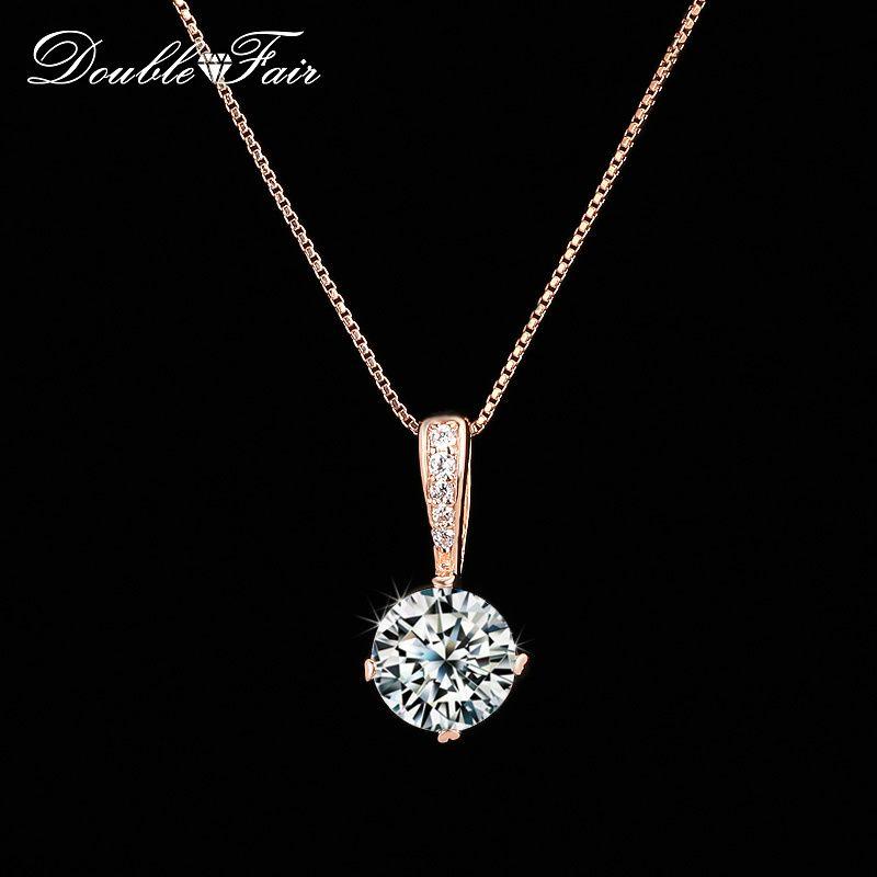 Duplo Fair Estilo Cadeia colares pingentes de prata / ouro rosa cor de Moda Cubic Zirconia jóias casamento para as mulheres DFN426