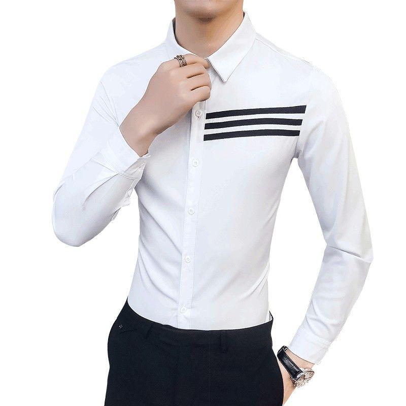 Plus Size 5XL-S Tuxedo Shirt Men Korean Slim Fit Front Stripe Decor Long Sleeve Mens Casual Shirts Night Club Party Dress Shirts