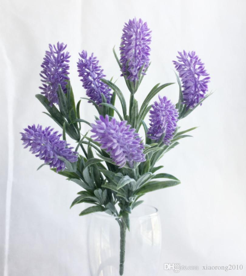 10 stks Leuke kunstmatige lavendel bloem simulatie 7 stengel / bos paarse kleur lavendel bloem boeket bruiloft kerstfeest decoraties