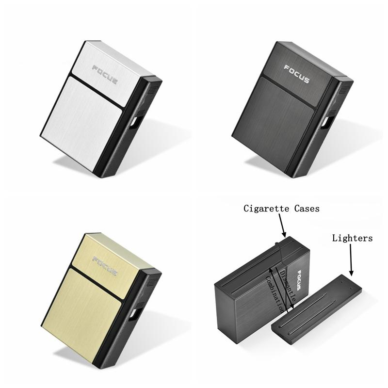 New Black Gold Silver Cigarette Case Lighter Kit Shell Plastic Aluminum Portable Innovative Design Storage Box High Quality Hot Sale