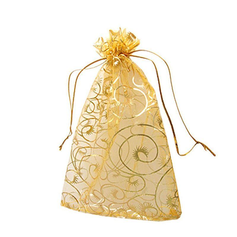 100 PCS / Sacos muito OURO champane PESTANA Organza Favor com cordão 4SIZES jóia do casamento Embalagem Pouches, presente agradável fábrica de sacos