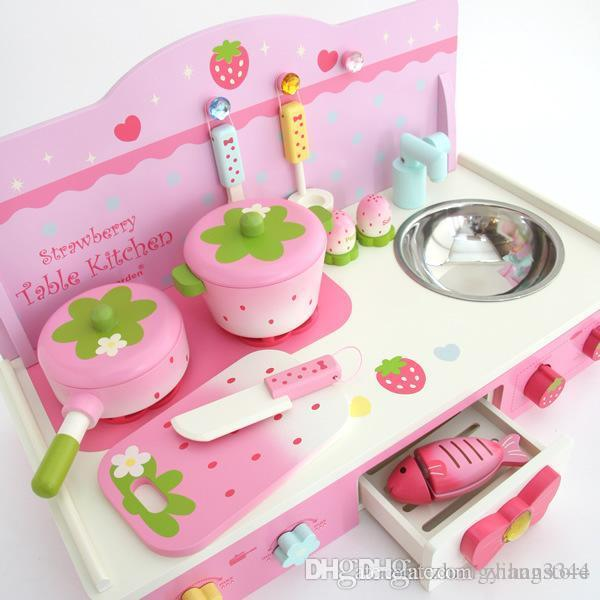 Wholesale- Kids Play House Toys pink Girl Tableware Sets Baby Toys Kitchen Cooking Simulation Model Happy Kitchen Pretend Play Toys