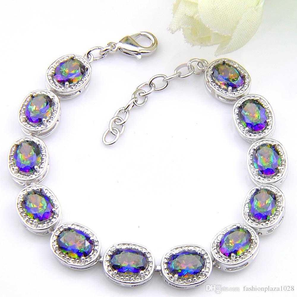 5 porción de las PC retro del arco iris Natural Mystic Topaz Gem Luckyshine 925 para el regalo de boda de las mujeres pulsera circón 8 pulgadas