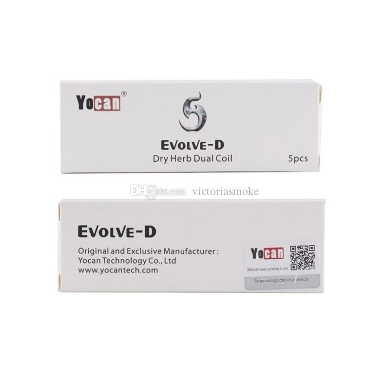 100% Auténtico Yocan Evolve D Bobina Dual para Evolve D Kit Vaporizador Reemplazo Bobina Cabeza Cigarrillos Electrónicos