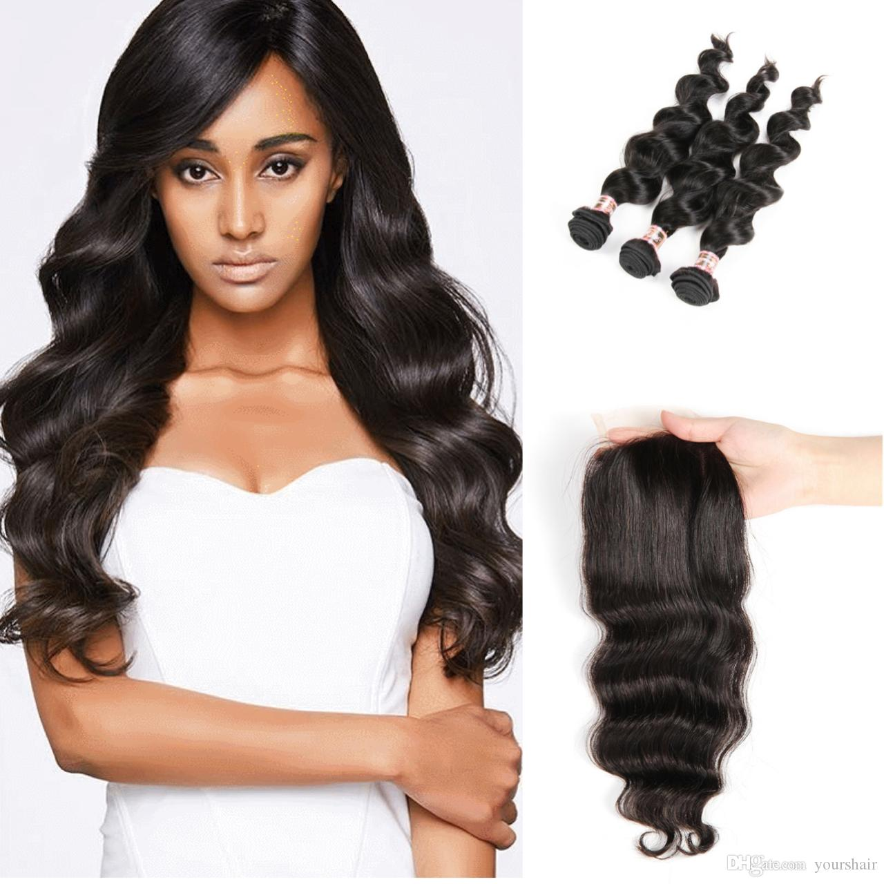Cheap Brazilian Peruvian Malaysian Indian Human Hair Weave Unprocessed Remy Hair Weave With Closure 4PC/Lot