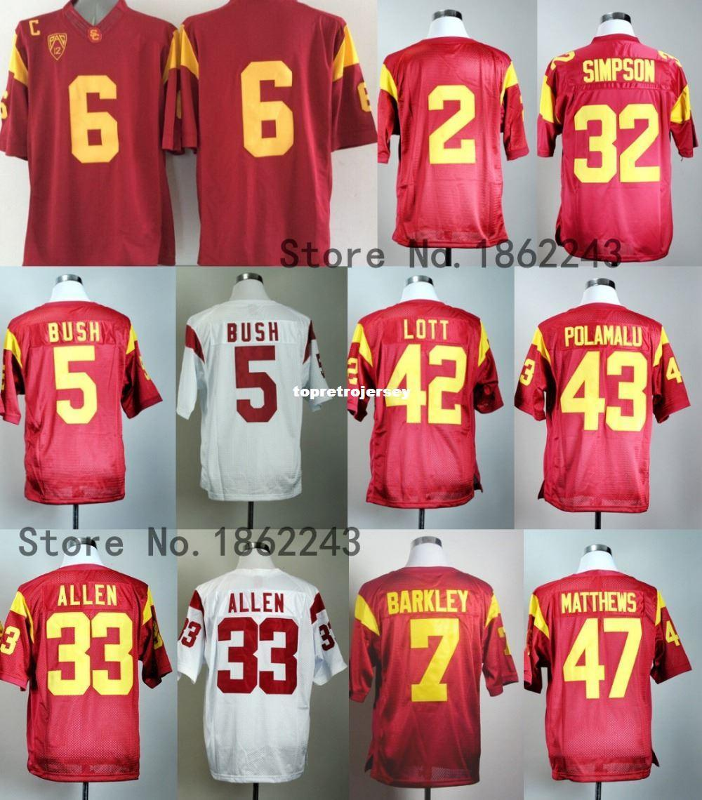 USC Trojans College Football Jerseys 43 Troy Polamalu 6 Cody Kessler 2 Robert Woods 32 OJ Simpson 7 Matt Barkley 33 Marcus Jersey
