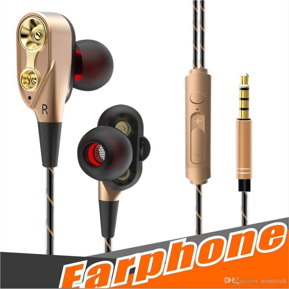 Çift Birim Sürücüleri kulaklıklar Kulak kulaklık Bas Subwoofer Stereo Mic Ile Spor HIFI kulaklık oyun kulaklığı Için iphone Samsung Cep Telefonu