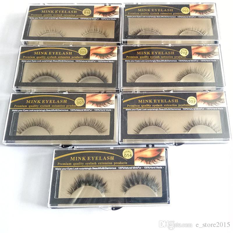 15 Styles 1 Pair Premium Quality False Eyelashes Handmade Real Mink Hair Fur Eyelash Soft Fake Eye Lash Extension Full Strip Lashes Q1