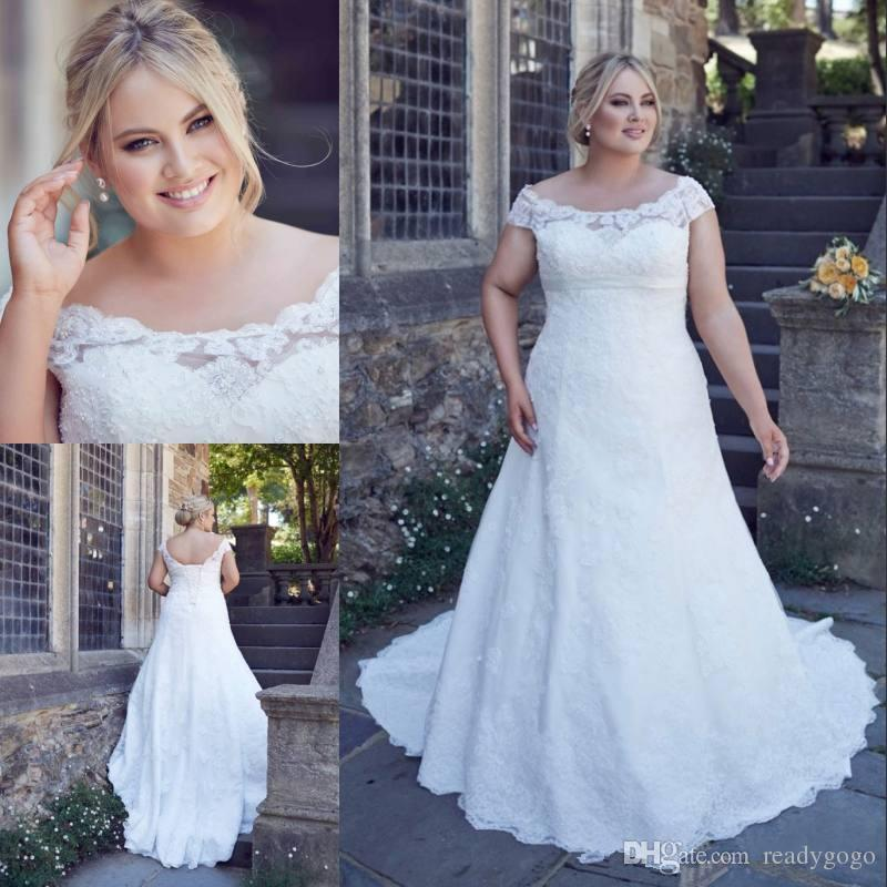 Plus Size Lace Wedding Dresses Bateau Neck A-Line Beaded country garden Bridal Gowns Lace-up Back Sweep Train Wedding Dress