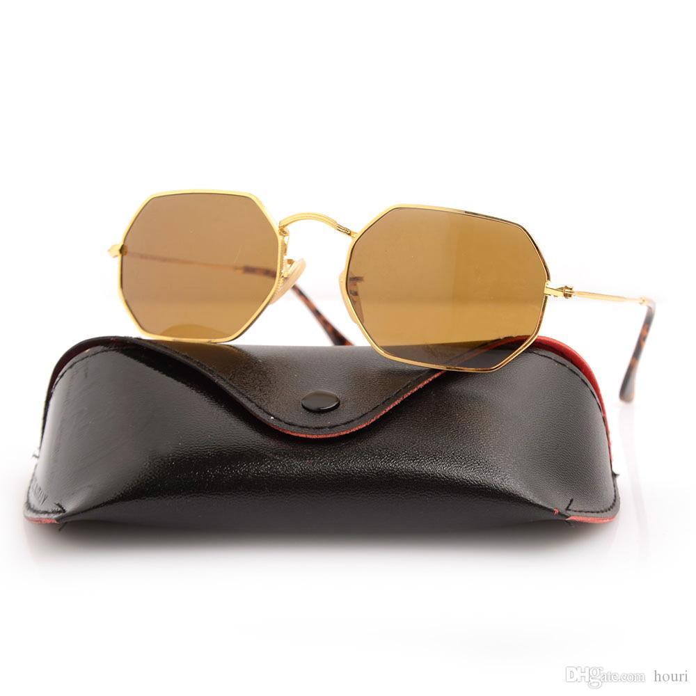 Высокое качество 3556 Очки Солнцезащитные очки человека Женщина для моды Зеленый бренд Солнцезащитные Очки Восьмиугольная линза Рама UV4 Линзы Золотые очки Sun Desi Qwat