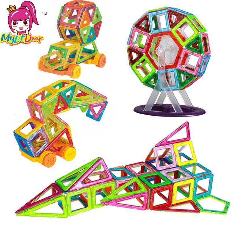 Mini 65 ADET Çocuklar Manyetik Blokları İnşaat Enlighten Montaj Yapı Eğitim DIY Plastik Teknik Tuğla