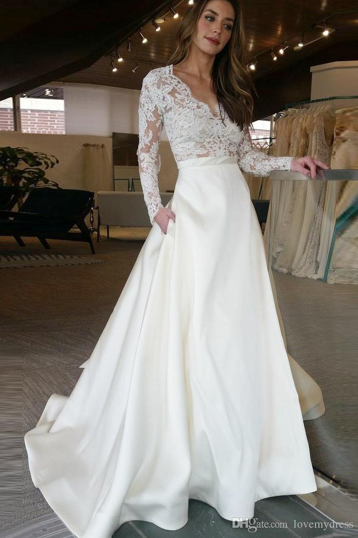 Discount Cheap Long Wedding Dress With Illusion Long Sleeves Lace See  Through Top Skirt With Pockets Designer A Line Bridal Dress Wedding Gowns  Long