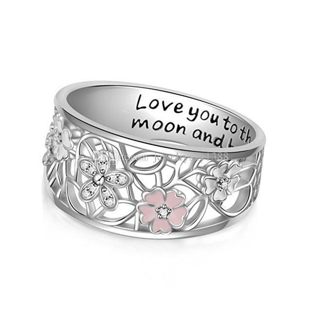 Kristallkirsch Ringe lieben dich zum Mond und zurück Brief Ringe Modeschmucksachen für Frauen-Tropfen-Schiff