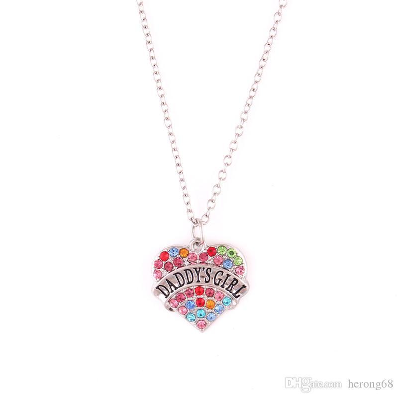 Collier coeur pour femmes PAPA'S GIRL écrite avec des cristaux colorés cadeau approprié pour fille en alliage de zinc fournir Dropshipping