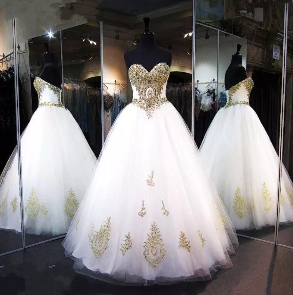 Blanco y vestidos de boda del oro real nueva imagen Cristales del Rhinestone de lujo de novia A-Line Vestidos de novia de tul Vestios De Matrimonio 2019 W260