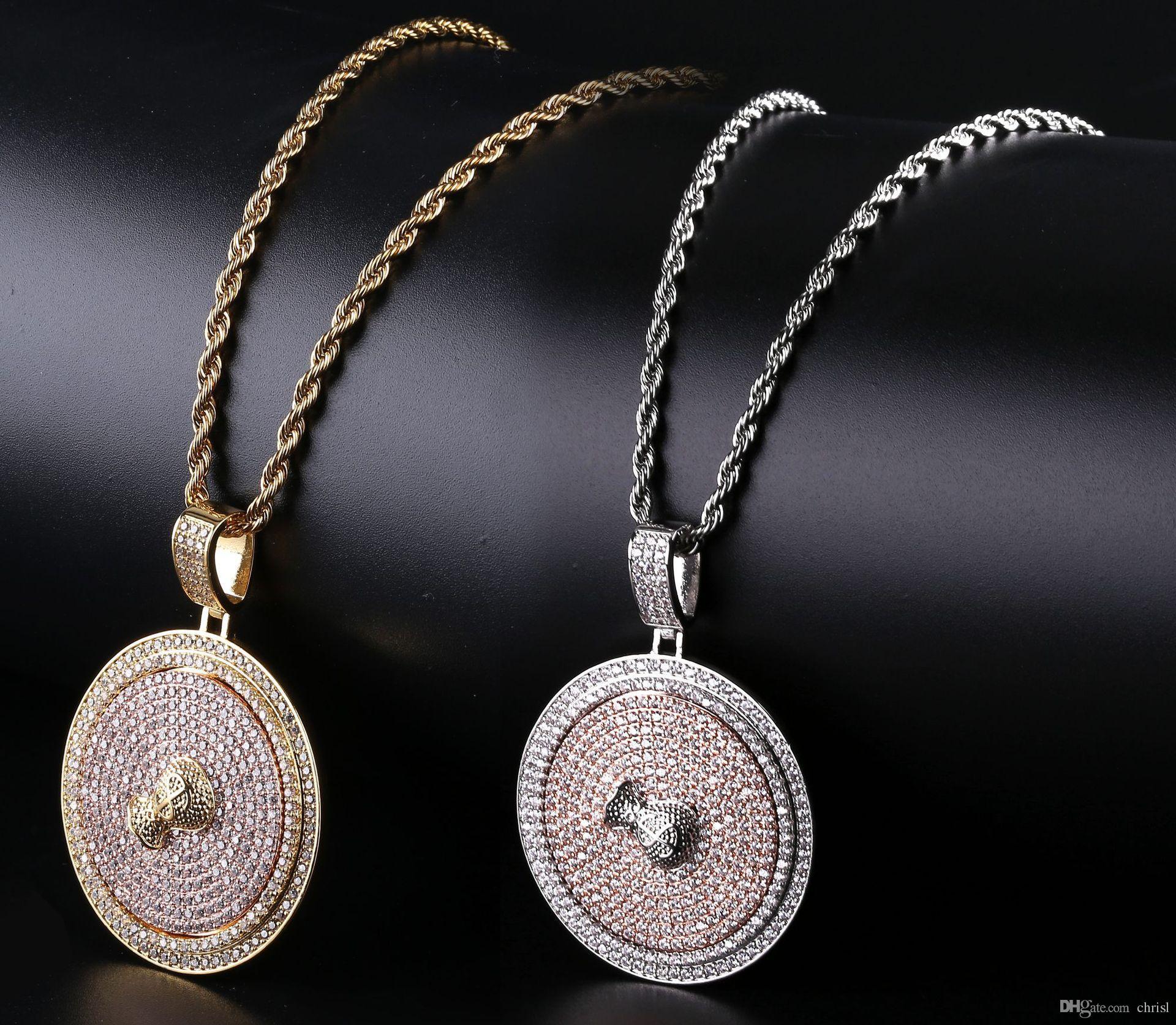 Sacco di soldi Spinner Iced Out Segno Collana pendente in ottone dorato placcato argento Micro pavimentato CZ uomini gioielli Hiphop