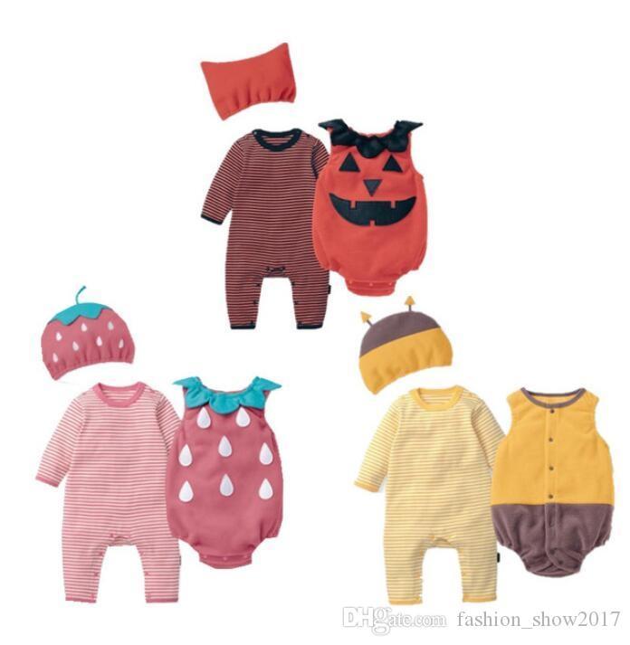 للجنسين ملابس الطفل الخريف الفراولة النحل اليقطين رومبير + سترة + قبعة مجموعة الزي الرضع بذلة هالوين البوريم تأثيري حلي